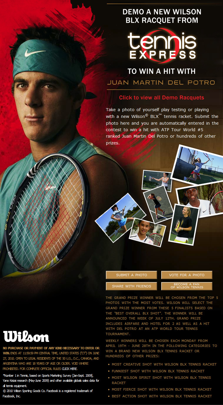Win a Hit With Juan Martin Del Potro Contest