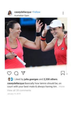 Casey Dallacqua Instagram Photo with Ashleigh Barty
