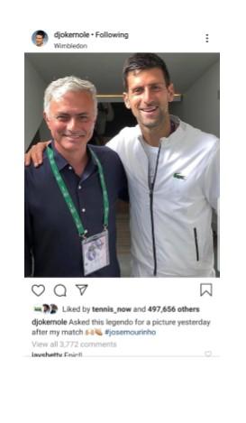 Novak DJokovic at Wimbledon 2019 Instagram Pic
