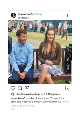 Laura Robson at Wimbledon Instagram Pic