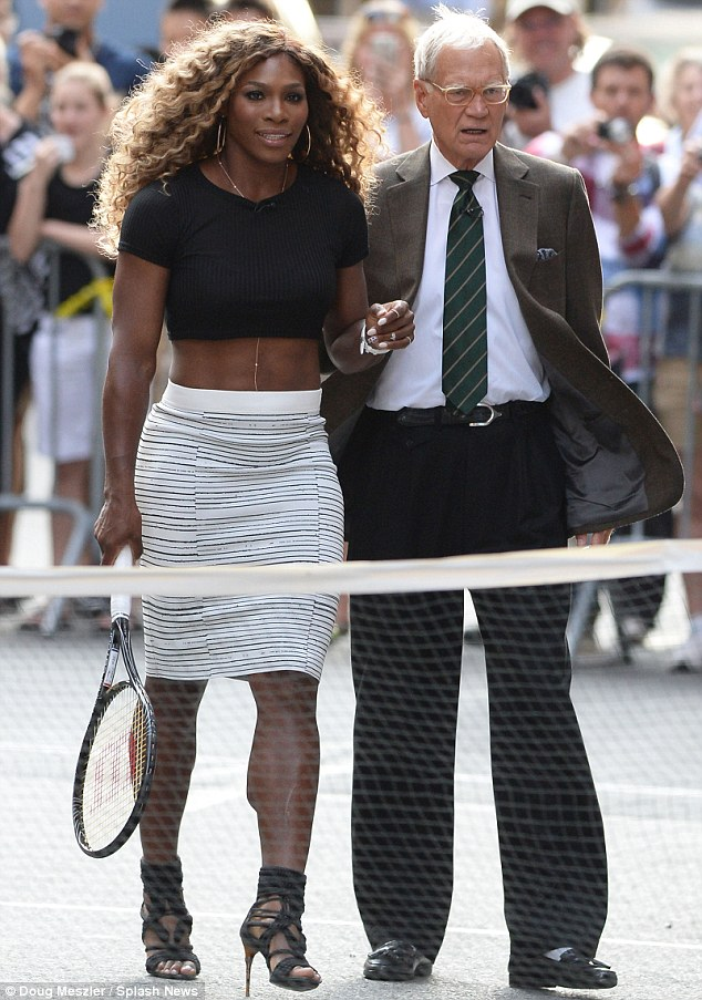 Serena Williams with David Letterman (Aug 21, 2014 - Source: Doug Meszier/Splash News)