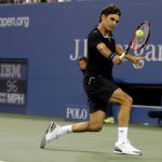 Roger Federer, of Switzerland, returns a shot to Marinko Matosevic, of Australia, during the first round of the 2014 U.S. Open tennis tournament Tuesday, Aug. 26, 2014, in New York. (AP Photo/Darron Cummings) ORG XMIT: USO510