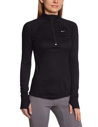 Model in Nike Womens Wool Half Zip Top
