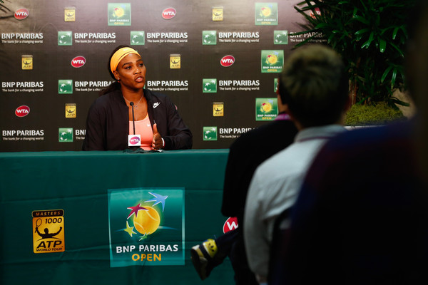 Serena Williams at a press conference on Day 12 at the BNP Paribas Open March 20, 2015 - Source: Julian Finney/Getty Images North America)