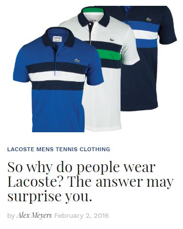 Why wear Lacoste Apparel Blog Snippet