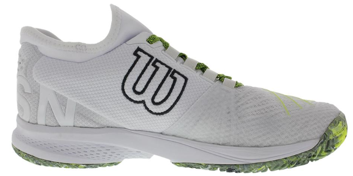 Wilson Men's Kaos 2.0 SFT Tennis Shoes in White and Safety Yellow