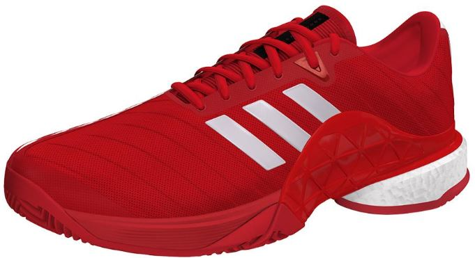 adidas Men's Barricade 2018 Boost Tennis Shoes Scarlet and White