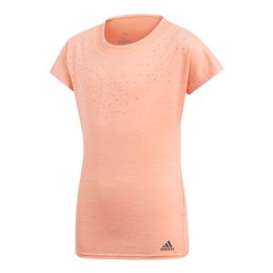 Girls Dotty Tennis Tee Chalk Coral