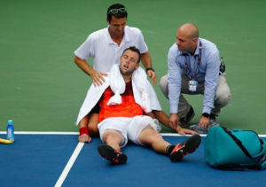 Jack Sock Cramping in Tennis Tournament