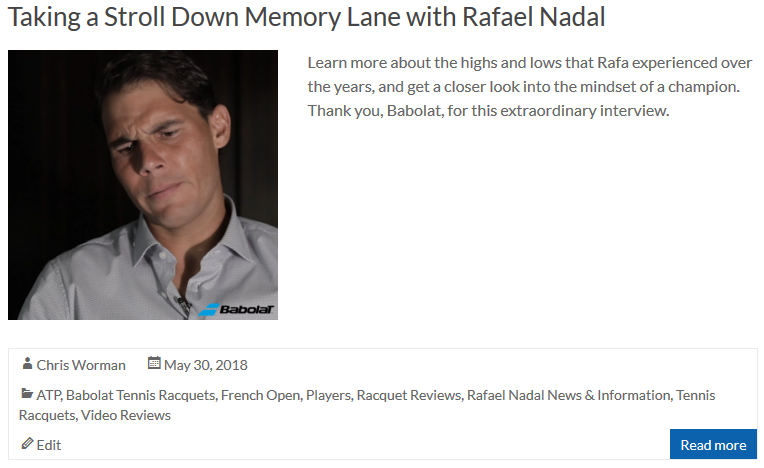 Taking a Stroll Down Memory Lane with Rafael Nadal