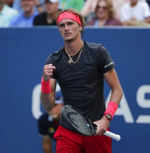 Alexander Zverev, of Germany, reacts after defeating Peter Polansky, of Canada, during the first round of the U.S. Open tennis tournament, Tuesday, Aug. 28, 2018, in New York. (AP Photo/Andres Kudacki)