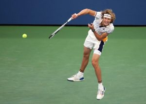 Aug 30, 2017; New York, NY, USA; Alexander Zverev of Germany serves to Borna Coric of Croatia on day three of the U.S. Open tennis tournament at USTA Billie Jean King National Tennis Center. Mandatory Credit: Jerry Lai-USA TODAY Sports