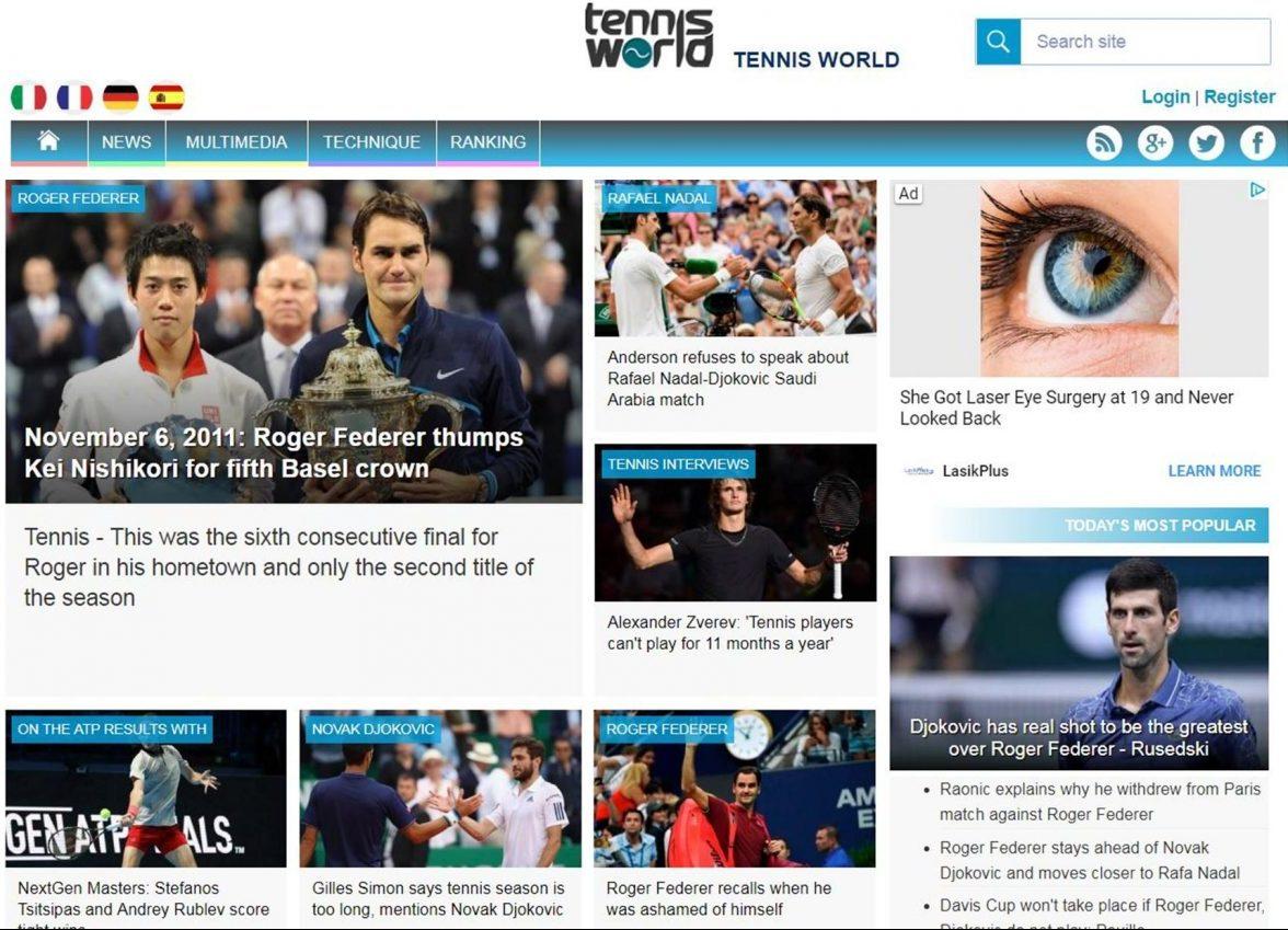 TennisWorld USA Website Front Page
