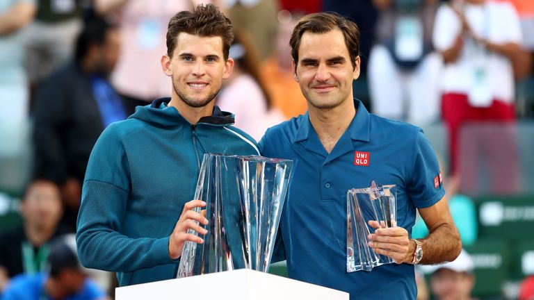 Dominic Thiem and Roger Federer at the 2019 BNP Paribas Open