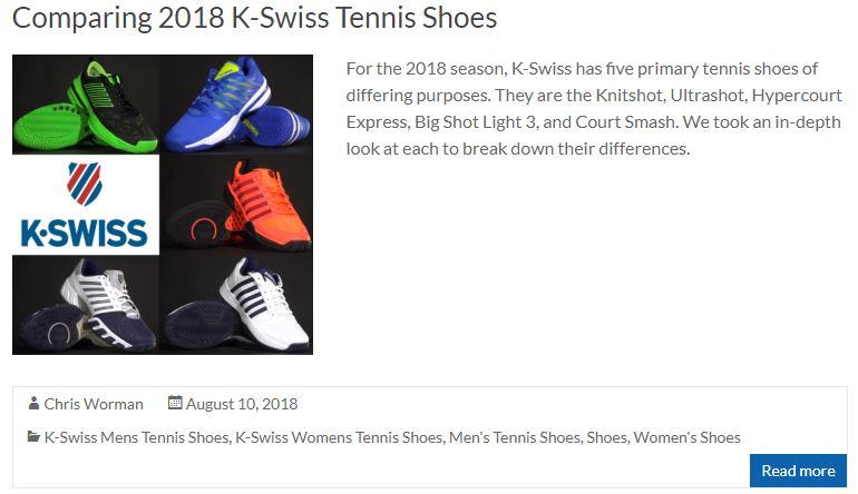 Comparing K-Swiss Tennis Shoes Blog