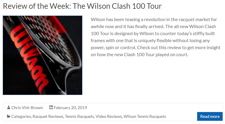 The Wilson Clash 100 Tour