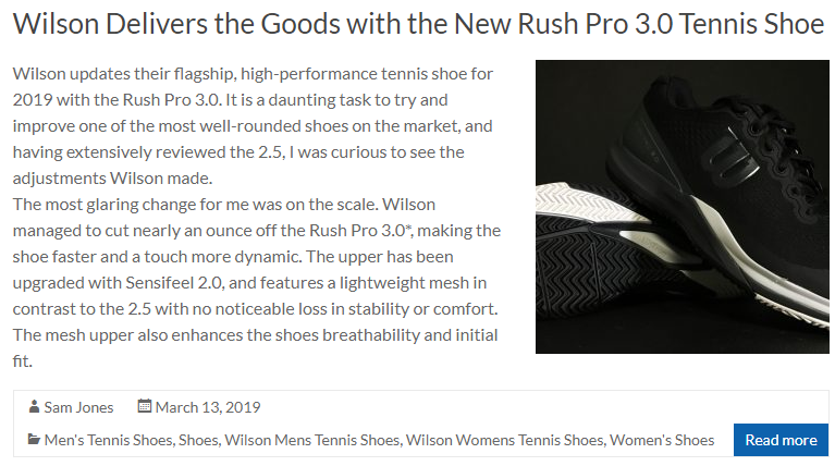 Wilson Delivers the Goods with the New Rush Pro 3.0 Tennis Shoe