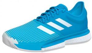 Adidas Women's SoleCourt Boost Clay Tennis Shoes in Shock Cyan and White