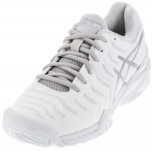 Asics Men's Gel-Resolution 7 Clay Tennis Shoes in White and Silver