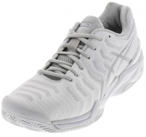 Asics Women's Gel-Resolution 7 Clay Tennis Shoes in White and Silver