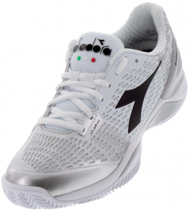 Diadora Women's Speed Blushield 3 Clay Tennis Shoes in White and Silver