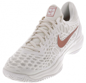 Nike Women's Zoom Cage 3 Clay Tennis Shoes in Phantom and Metallic Rose Gold