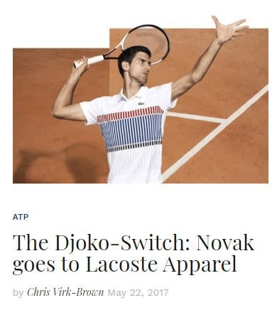 Novak Djokovic Switches to Lacoste Apparel Blog Snippet