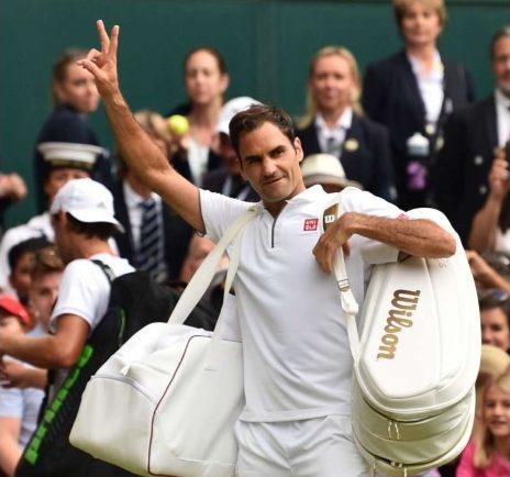 Roger Federer walking off court at 2019 Wimbledon Championships