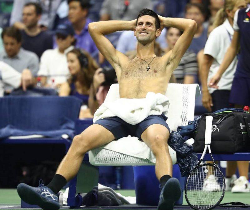 Novak Djokovic Shirtless at the 2018 US Open