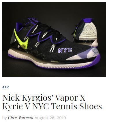 Nick Kygrios Vapor X Kyrie NYC Tennis Shoe Blog Thumbnail