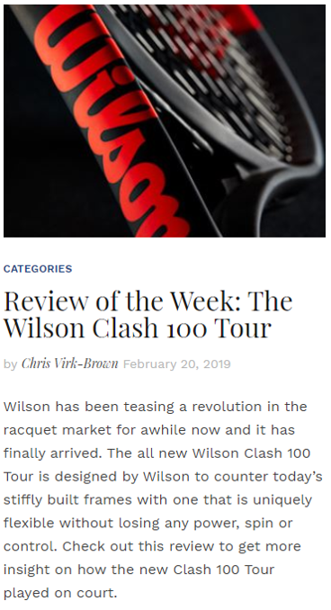 Review of the Week: The Wilson Clash 100 Tour