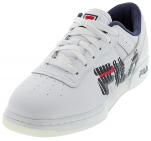 Fila Men's Original Fitness Graphic Shoes White and Navy