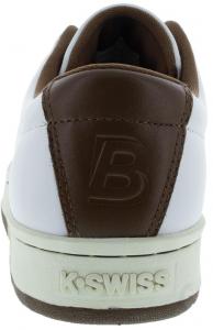 K- Swiss Men's Classic 88 II Bryan Brothers Lifestyle Shoes White and Dark Brown Heel