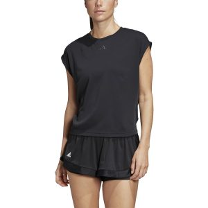 Model in Adidas Women's HEAT.RDY Tennis Top Black