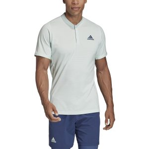 Model in Adidas Men's HEAT.RDY FreeLift Dash Green Tennis Polo