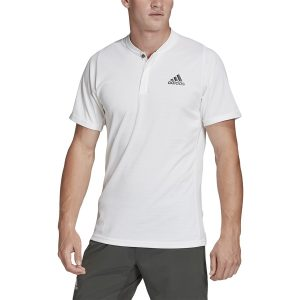 Model in Adidas Men's HEAT.RDY FreeLift White Tennis Polo