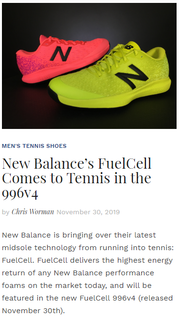 New Balance's FuelCell Comes to Tennis in the 996v4