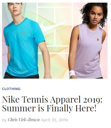NikeCourt Summer 2019 Apparel Blog Snippet