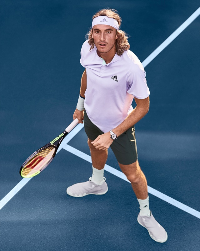 Stefanos Tsitsipas in HEAT.RDY Adidas Polo and 2n1 Short