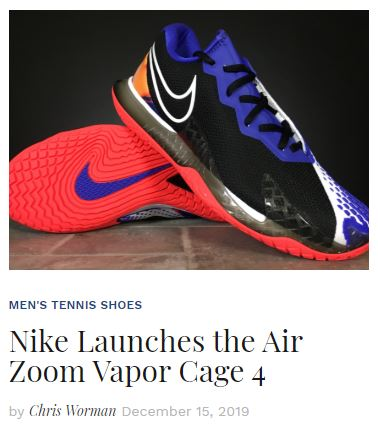 NikeCourt Air Zoom Vapor Cage 4 Tennis Shoe Blog Snippet
