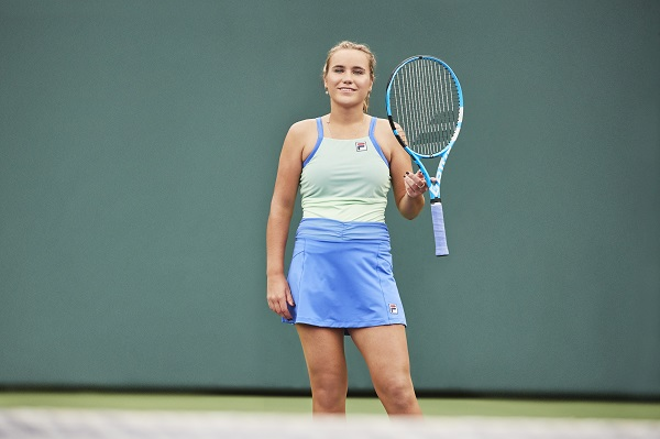 Sofia Kenin in Fila Colorful Play Cami Tank and A-Line Skort SP20