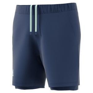 adidas Men's HEAT.RDY 2n1 Tennis Short Tech Indigo and Dash Green