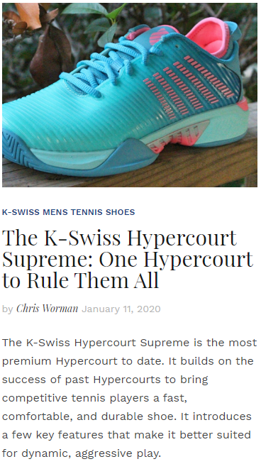 The K-Swiss Hypercourt Supreme - One Hypercourt to Rule Them All