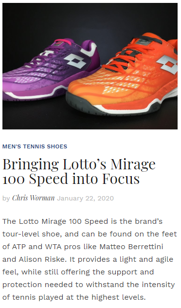 Bringing Lotto's Mirage 100 Speed into Focus