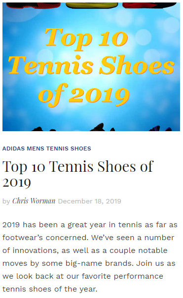 Top 10 Tennis Shoes of 2019