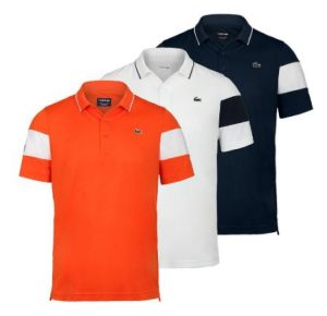Lacoste Men's Miami Open Co Brand Color Block Tennis Polo Orange, White and Navy
