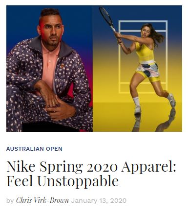 Nike Spring 2020 Tennis Apparel blog