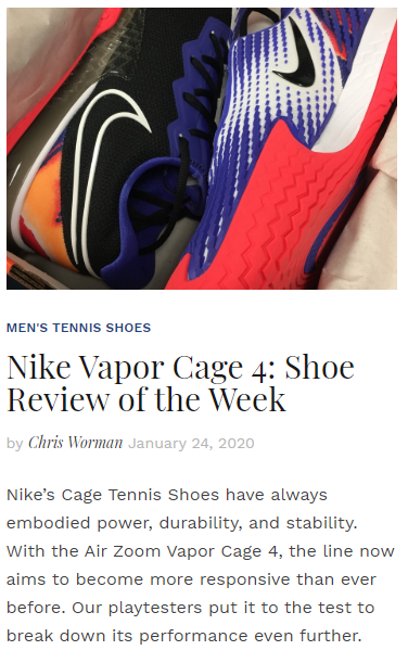 Nike Vapor Cage 4 - Shoe Review of the Week