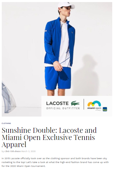 Sunshine Double - Lacoste and Miami Open Exclusive Tennis Apparel