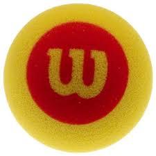 Red Wilson foam tennis ball